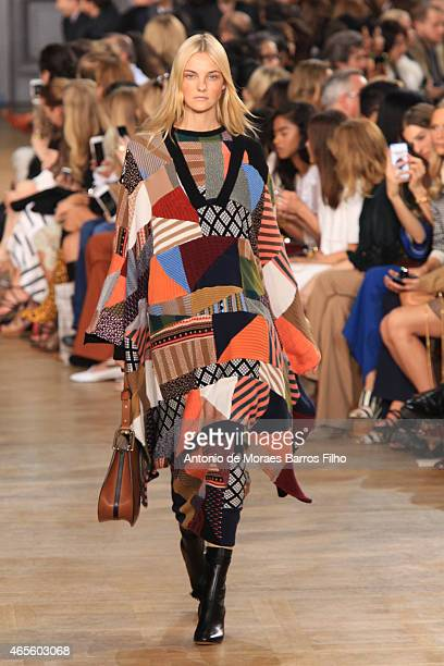 Caroline Trentini walks the runway during the Chloe show as part of the Paris Fashion Week Womenswear Fall/Winter 2015/2016 on March 8 2015 in Paris...