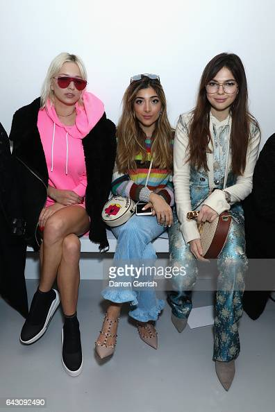 Caroline Vreeland a guest and Doina Ciobanu attend the Antonio Berardi show during the London Fashion Week February 2017 collections on February 20...