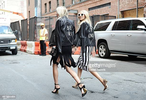 Caroline Vreeland and Shea Marie are seen outside the Cushnie et Ochs show during New York Fashion Week 2016 on September 11 2015 in New York City