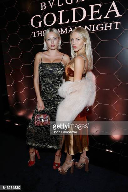 Caroline Vreeland and Shea Marie attends Bulgari 'Goldea The Roman Night' fragrance launch party at 1 Hotel Brooklyn Bridge on September 6 2017 in...