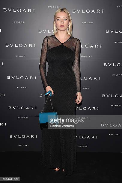 Caroline Vreeland attends the Bulgari dinner party during the Milan Fashion Week Spring/Summer 2016 on September 25 2015 in Milan Italy