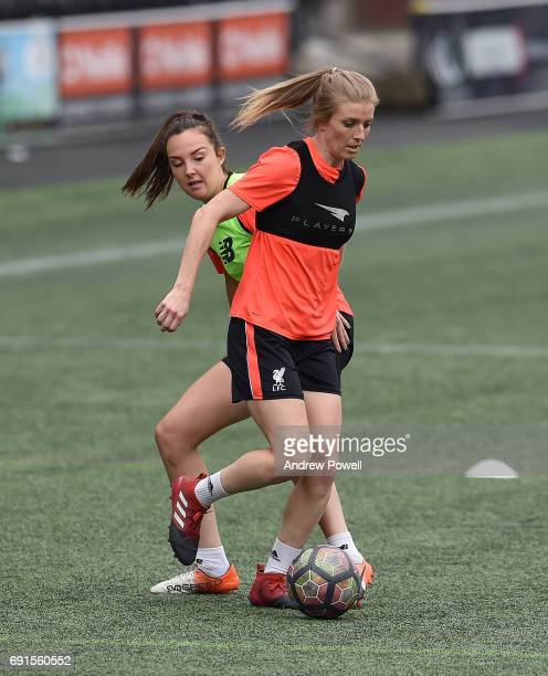Caroline Weir and Kate Longhurst of Liverpool Ladies during a training session at Select Security Stadium on June 2 2017 in Widnes England