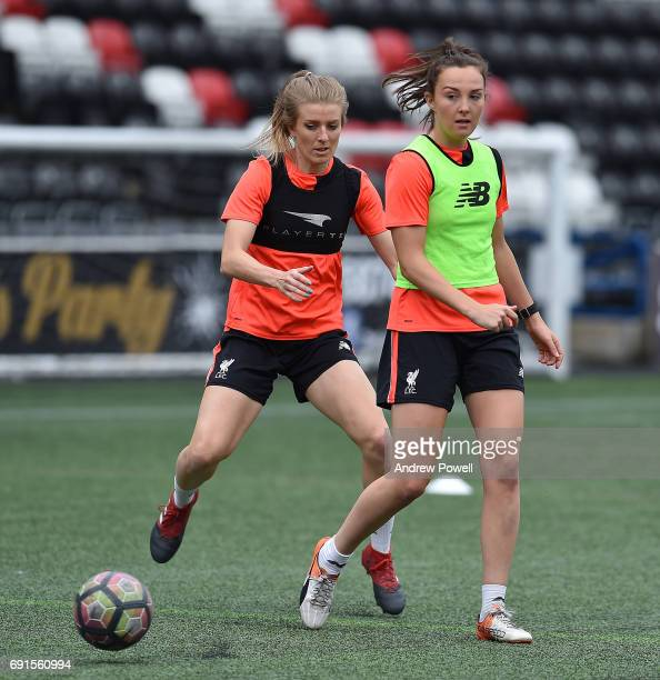 Caroline Weir and Kate Longhurst of Liverpool Ladies during a Photocall at Select Security Stadium on June 2 2017 in Widnes England