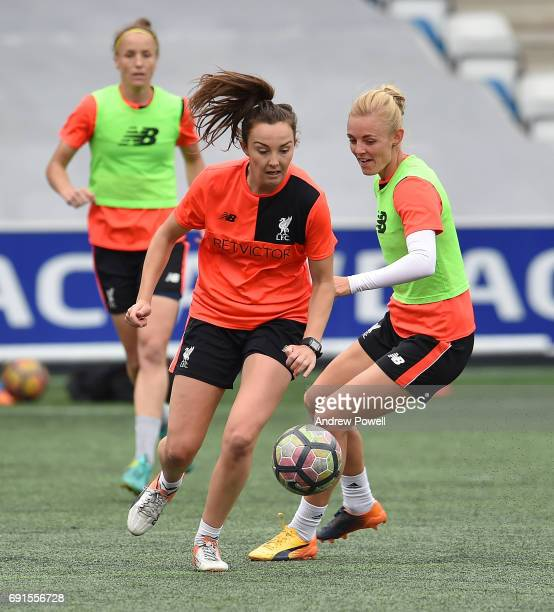 Caroline Weir and Sophie Ingle of Liverpool Ladies during a training session at Select Security Stadium on June 2 2017 in Widnes England