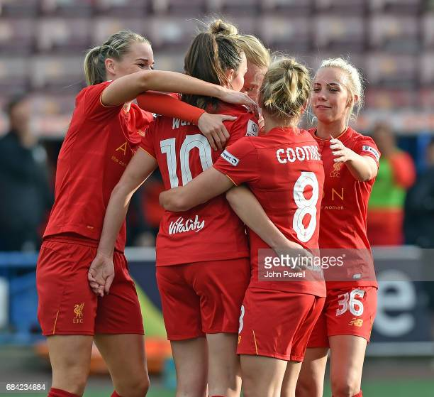 Caroline Weir of Liverpool is congratulated after scorring the first goal during a training session at Melwood Training Ground on May 17 2017 in...