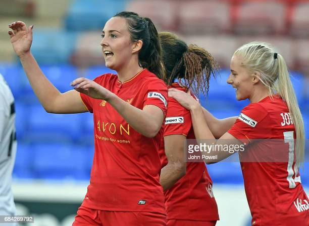 Caroline Weir of Liverpool is congratulated after the third goal during a training session at Melwood Training Ground on May 17 2017 in Liverpool...