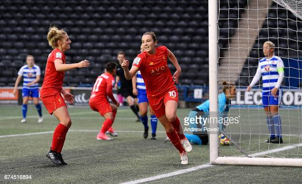 Caroline Weir of Liverpool Ladies celebrates after scoring the thrid during a Women's Super League match between Liverpool Ladies and Reading FC...