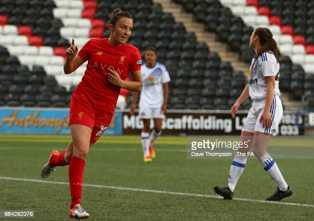 Caroline Weir of Liverpool Ladies celebrates scoring her second goal of the game during the WSL 1 match between Liverpool Ladies and Sunderland...