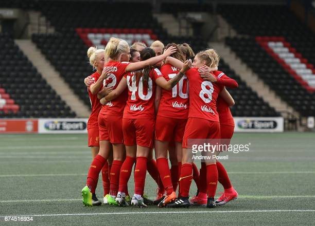 Caroline Weir of Liverpool Ladies celebrates with team mates after scoring the thrid during a Women's Super League match between Liverpool Ladies and...