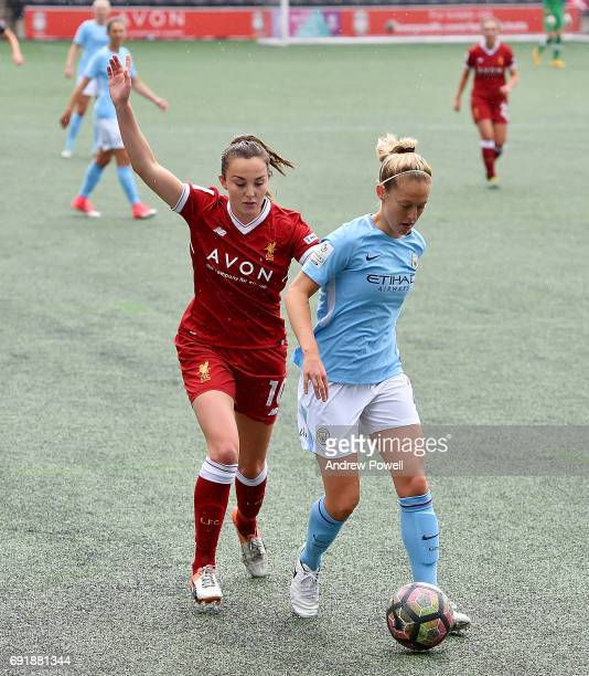 Caroline Weir of Liverpool Ladies competes with Keira Walsh of Manchester City Women during a WSL 1 match between Liverpool Ladies and Manchester...