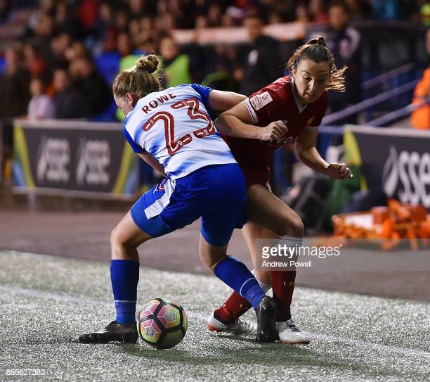 Caroline Weir of Liverpool Ladies competes with Rachel Rowe of Reading FC Women during the Women's Super League match between Liverpool Ladies and...