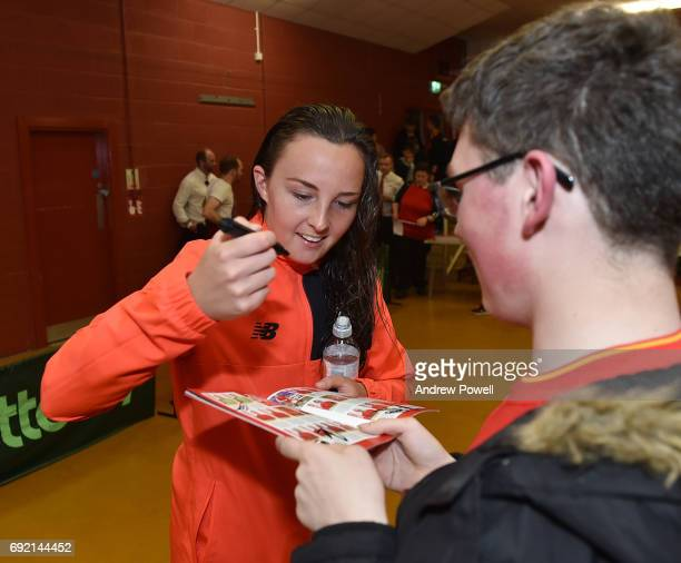 CAroline Weir of Liverpool Ladies during a signing session after the WSL 1 match between Liverpool Ladies and Manchester City Women at Select...