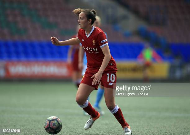 Caroline Weir of Liverpool Ladies during the FA WSL 1 game against Manchester City Women at Select Security Stadium on June 3 2017 in Widnes England