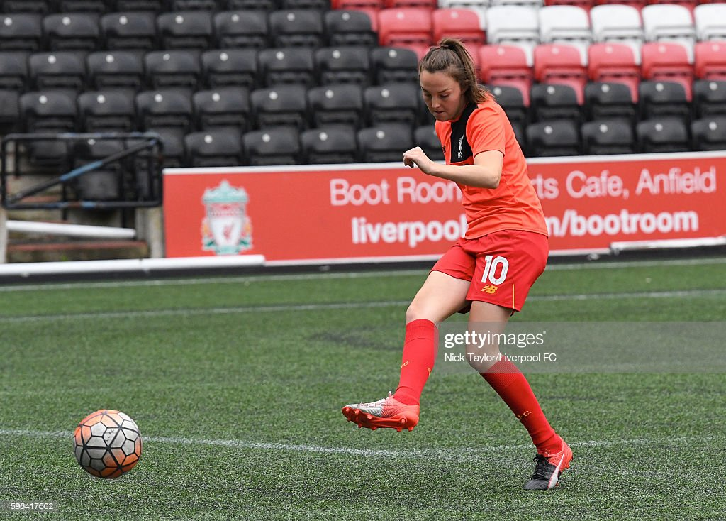 Caroline Weir of Liverpool Ladies during the warmup before the Liverpool Ladies v Doncaster Rovers Belles WSL 1 match on August 27 2016 in Widnes...
