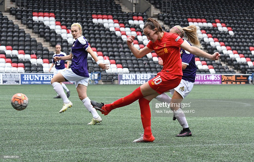 Caroline Weir of Liverpool Ladies has a shot on goal during the Liverpool Ladies v Doncaster Belles WSL 1 match on August 27 2016 in Widnes England