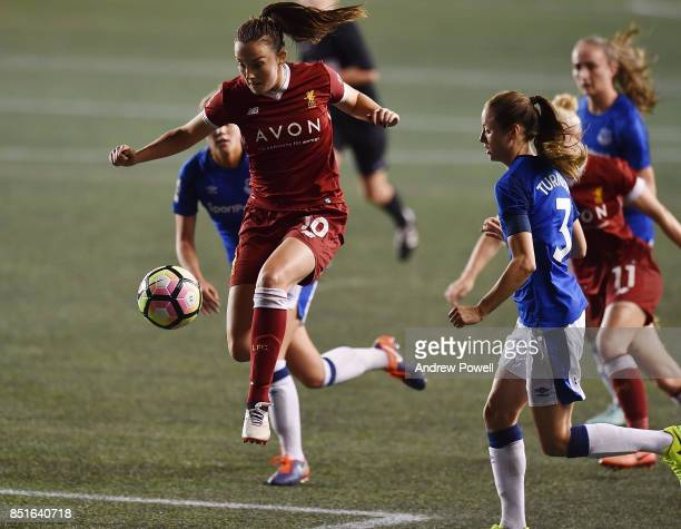 Caroline Weir of Liverpool Ladies powers through during the match between Everton Ladies and Liverpool Ladies at Select Security Stadium on September...