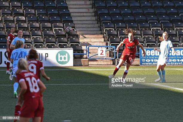 Caroline Weir of Liverpool Ladies scores a goal during a WSL 1 match between Liverpool Ladies and Manchester City Women at Select Security Stadium on...