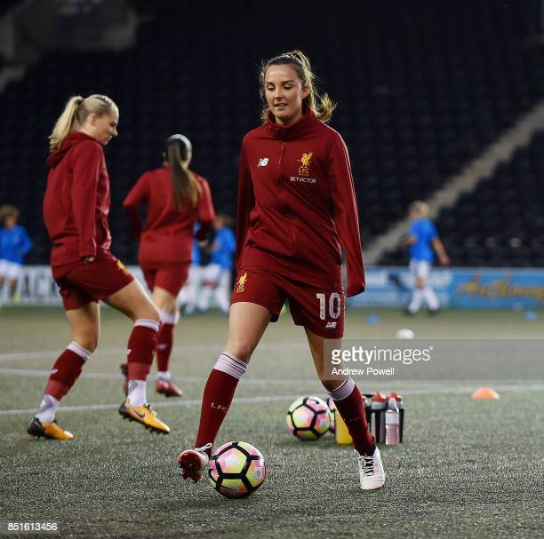 Caroline Weir of Liverpool Ladies warming up before the match between Everton Ladies and Liverpool Ladies at Select Security Stadium on September 22...