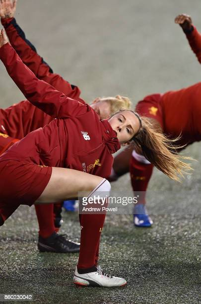 Caroline Weir of Liverpool Ladies warms up before the Women's Super League match between Liverpool Ladies and Sheffield FC Ladies at Select Security...