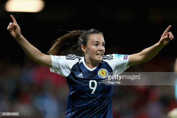 Caroline Weir of Scotland celebrates scoring her sides first goal during the Group D match between Scotland and Spain during the UEFA Women's Euro...