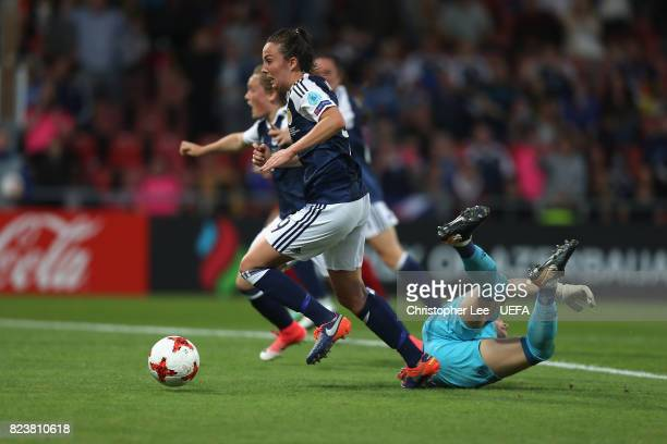 Caroline Weir of Scotland gets past Sandra Panos of Spain and scores their first goal during the UEFA Women's Euro 2017 Group D match between...