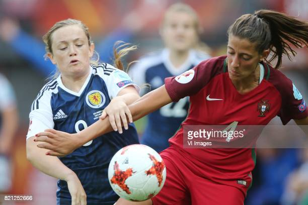 Caroline Weir of Scotland women Silvia Rebelo of Portugal women during the UEFA WEURO 2017 Group D group stage match between Scotland and Portugal at...