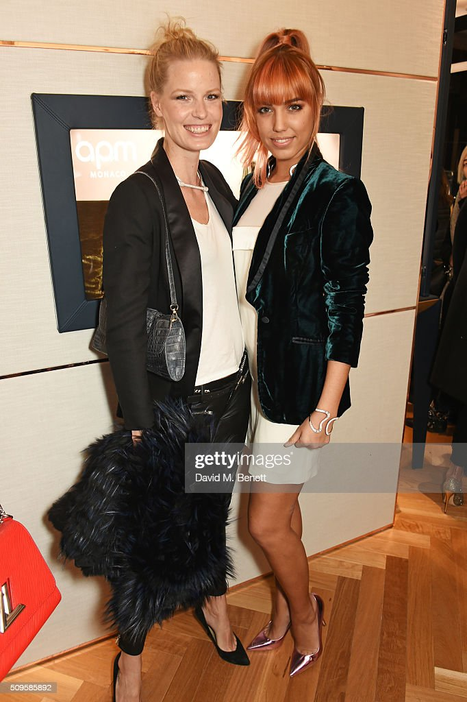 Caroline Winberg (L) and Amber Le Bon attend the APM Monaco flagship store opening on South Molton Street on February 11, 2016 in London, England.