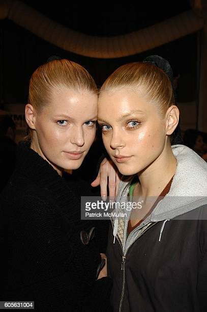 Caroline Winberg and Jessica Stam attend Oakley Womens Fall 06 Fashion Show at Atelier The Tents at Bryant Park on February 4 2006 in New York