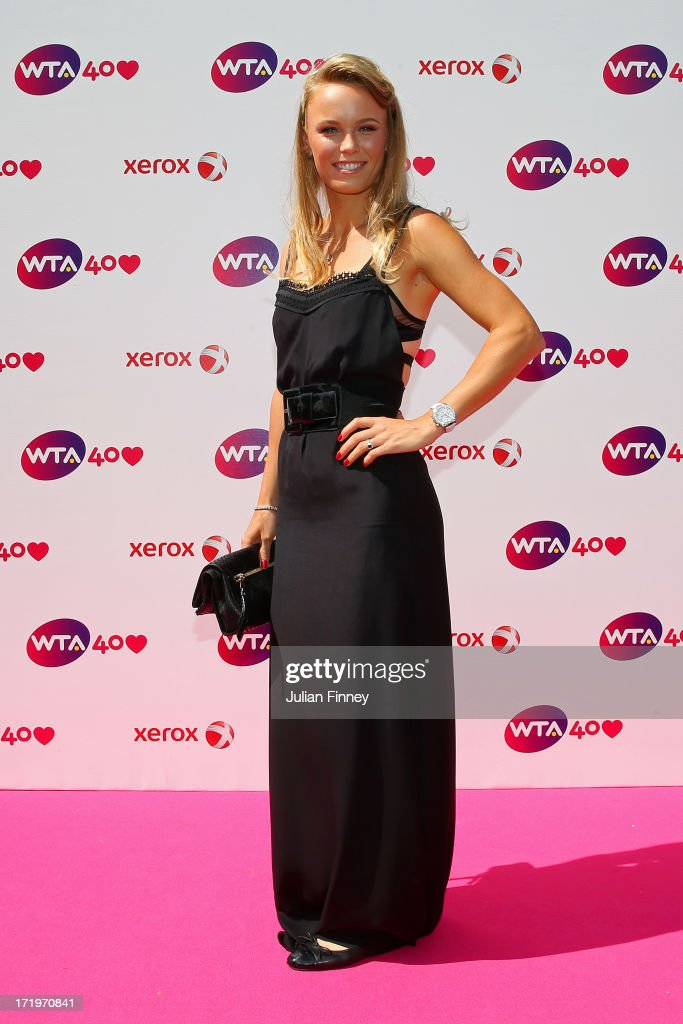 Caroline Wozniacki arrives for the WTA 40 Love Celebration during Middle Sunday of the Wimbledon Lawn Tennis Championships at the All England Lawn Tennis and Croquet Club on June 30, 2013 in London, England.