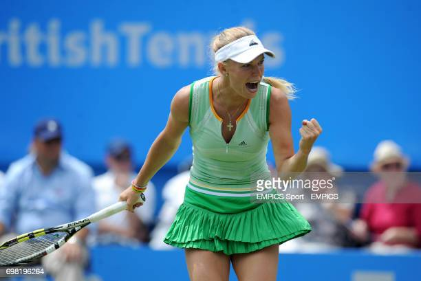 Caroline Wozniacki celebrates winning a point against Angelique Kerber during the AEGON International at Devonshire Park Eastbourne