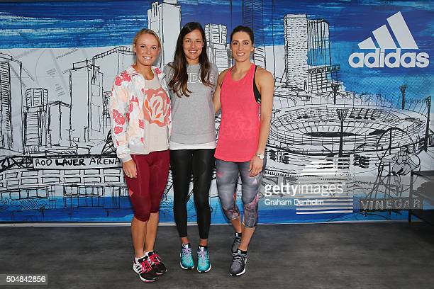 Caroline Wozniacki of Denmark Ana Ivanovic of Serbia and Andrea Petkovic of Germany pose during the adidas ACE Case Launch at Crown Entertainment...