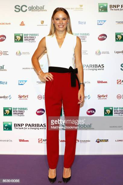Caroline Wozniacki of Denmark arrives for the Official Draw Ceremony and Gala of the BNP Paribas WTA Finals Singapore presented by SC Global at...