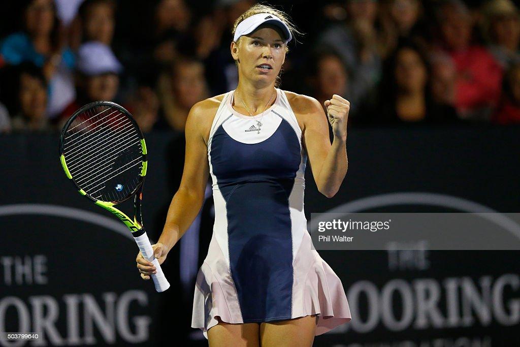 Caroline Wozniacki of Denmark celebrates a point against Alexandra Dulgheru of Romania during day four of the 2016 ASB Classic at ASB Tennis Arena on...