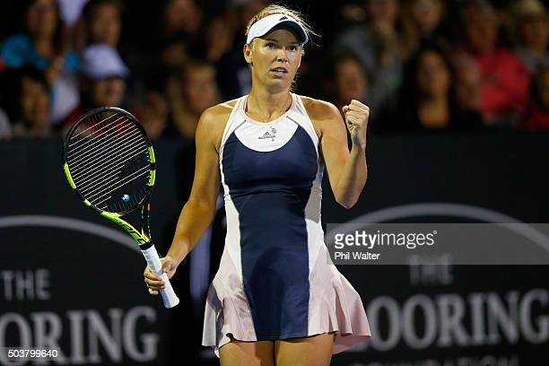 Caroline Wozniacki of Denmark celebrates a point against Alexandra Dulgheru of Romania during day four of the 2016 ASB Classic at ASB Tennis Arena on...