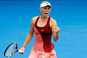 Caroline Wozniacki of Denmark celebrates a point during her semifinal match against Barbora Zahlavova Strycova of the Czech Republic during day five...