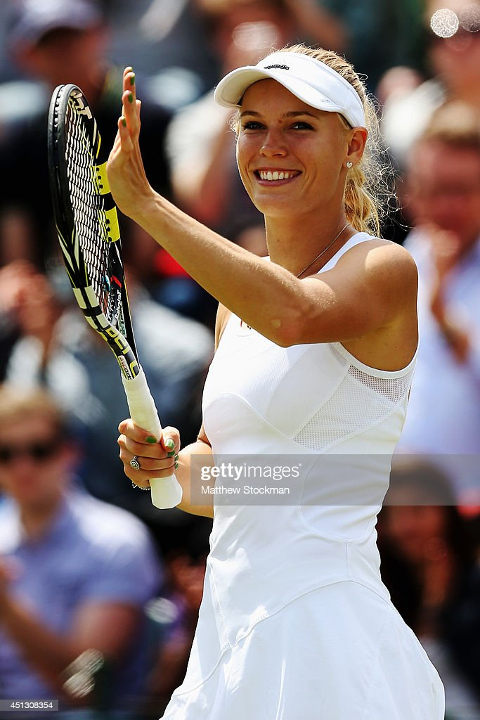 Caroline Wozniacki of Denmark celebrates after winning her Ladies' Singles third round match against Ana Konjuh of Croatia on day five of the...