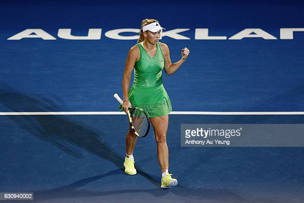 Caroline Wozniacki of Denmark celebrates after winning her match against Varvara Lepchenko of USA on day three of the ASB Classic on January 4 2017...