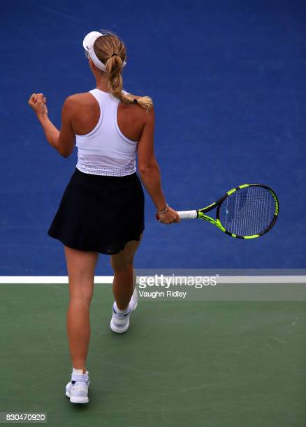 Caroline Wozniacki of Denmark celebrates victory over Karolina Pliskova of Czech Republic during Day 7 of the Rogers Cup at Aviva Centre on August 11...