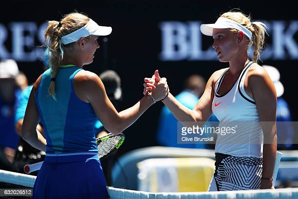 Caroline Wozniacki of Denmark celebrates winning her second round match against Donna Vekic of Croatia on day four of the 2017 Australian Open at...