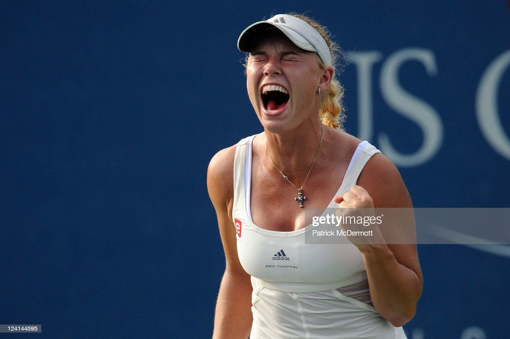Caroline Wozniacki of Denmark celebrates winning match point against Andrea Petkovic of Germany during Day Eleven of the 2011 US Open at the USTA Billie Jean King National Tennis Center on September 8, 2011 in the Flushing neighborhood of the Queens borough of New York City.