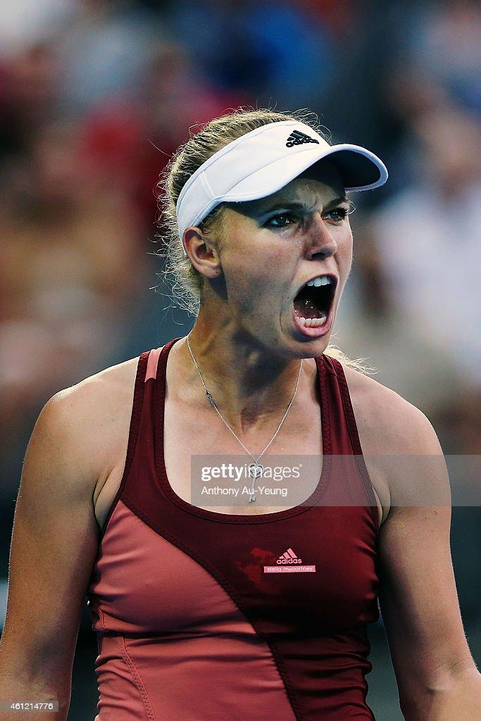Caroline Wozniacki of Denmark celebrates winning the match against Barbora Zahlavova Strycova of Czech Republic during day five of the 2015 ASB...