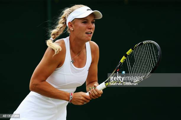 Caroline Wozniacki of Denmark during the Ladies' Singles third round match against Ana Konjuh of Croatia on day five of the Wimbledon Lawn Tennis...