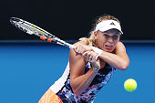 Caroline Wozniacki of Denmark hits a backhand during a practice session ahead of the 2015 Australian Open at Melbourne Park on January 18 2015 in...