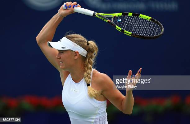 Caroline Wozniacki of Denmark hits a shot against Karolina Pliskova of Czech Republic during Day 7 of the Rogers Cup at Aviva Centre on August 11...