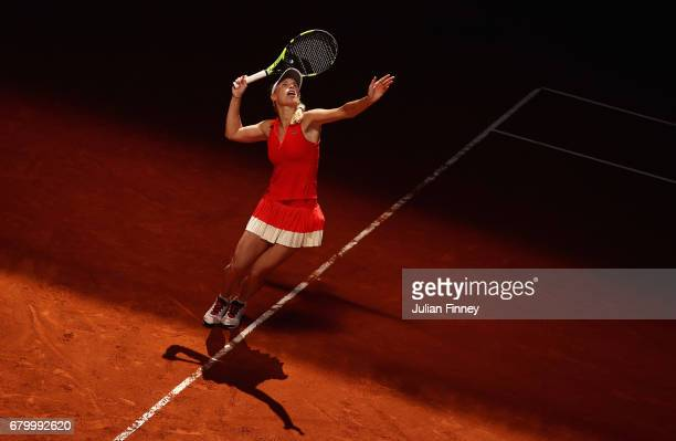 Caroline Wozniacki of Denmark in action against Monica Niculescu of Romania during day two of the Mutua Madrid Open tennis at La Caja Magica on May 7...