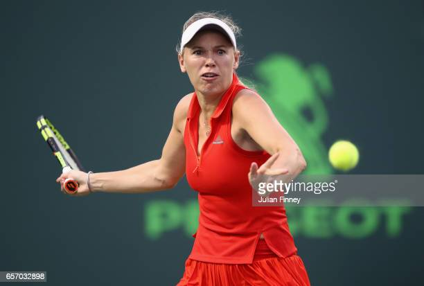 Caroline Wozniacki of Denmark in action against Varvari Lepchenko of USA at Crandon Park Tennis Center on March 23 2017 in Key Biscayne Florida