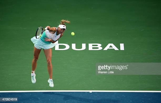 Caroline Wozniacki of Denmark in action against Venus Williams of the USA during day five of the WTA Dubai Duty Free Tennis Championship at the Dubai...