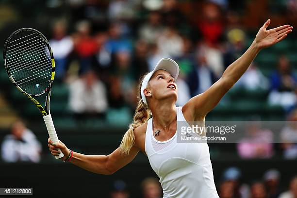 Caroline Wozniacki of Denmark in action during her Ladies' Singles second round match against Naomi Broady of Great Britain on day three of the...