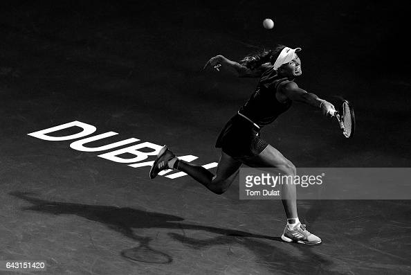 Caroline Wozniacki of Denmark in action during her match against Daria Kasatkina of Russia on day two of the WTA Dubai Duty Free Tennis Championship...