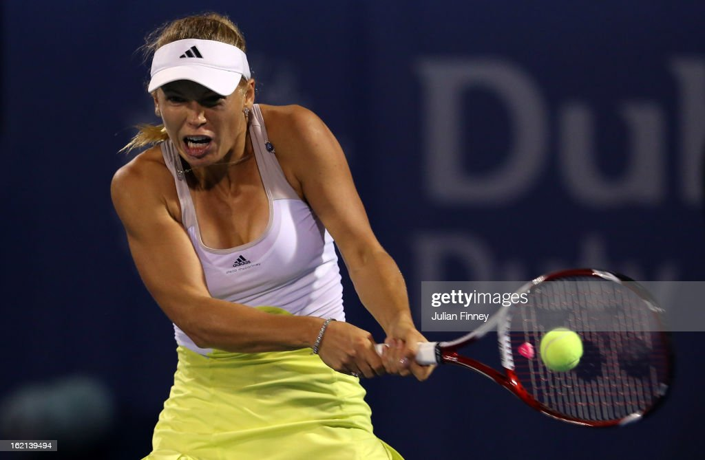 <a gi-track='captionPersonalityLinkClicked' href=/galleries/search?phrase=Caroline+Wozniacki&family=editorial&specificpeople=740679 ng-click='$event.stopPropagation()'>Caroline Wozniacki</a> of Denmark in action in her match against Lucie Safarova of Czech Republic during day two of the WTA Dubai Duty Free Tennis Championship on February 19, 2013 in Dubai, United Arab Emirates.